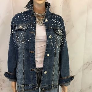 Quaker Factory Pearled Denim Jean Jacket